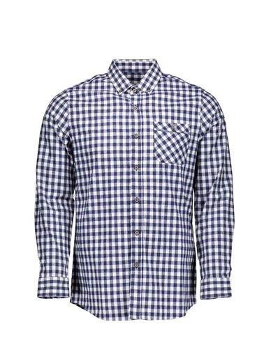 Collezione Collezione Kare Desenli Regular Fit Saks Erkek Gömlek Mavi
